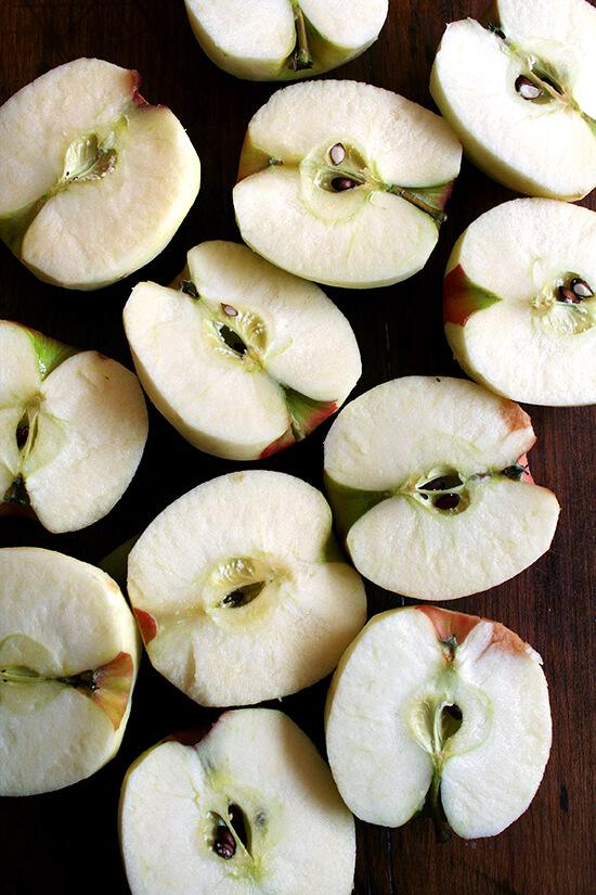 halved apples
