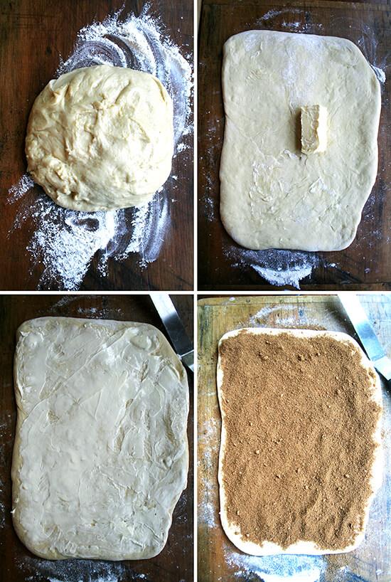 making the cinnamon rolls