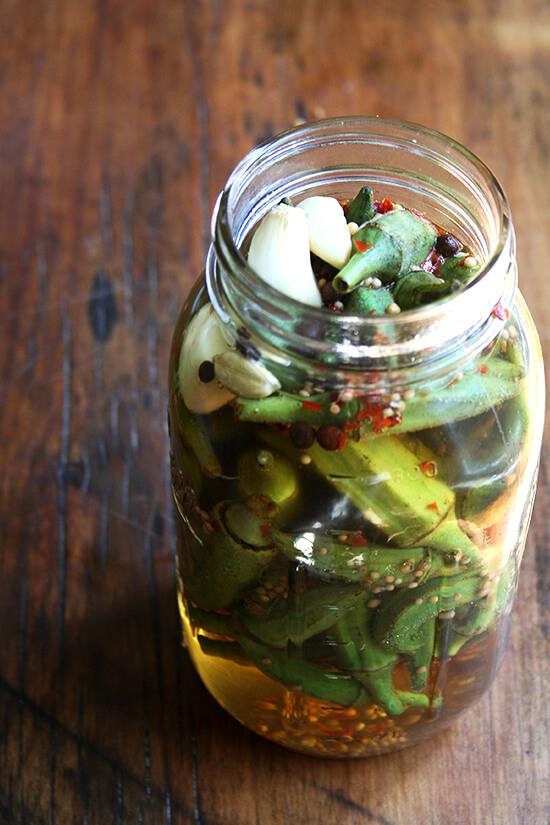 okra, pickling