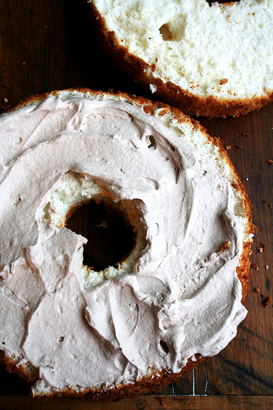 frosted, halved angel food cake