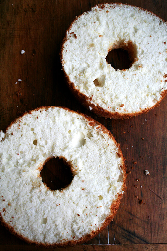 halved angel food cake