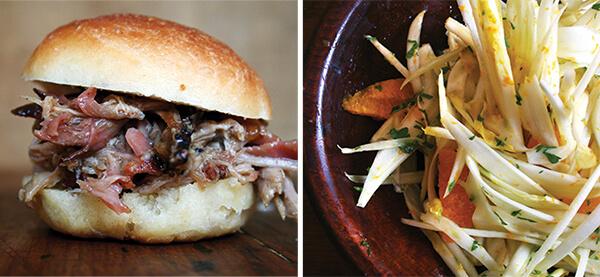 pulled pork, fennel & endive slaw