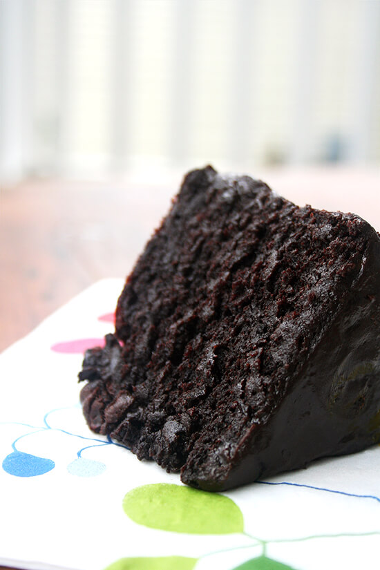 slice of double chocolate cake