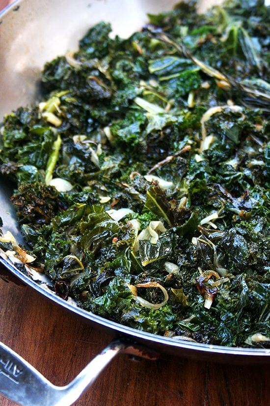 slow-cooked curly kale