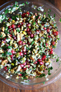 Green Olive, Walnut & Pomegranate Salad; Thanksgiving Day Recap
