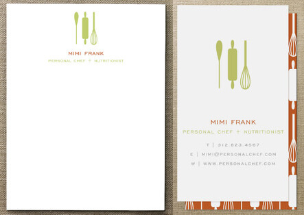 stationery and business card for a personal chef