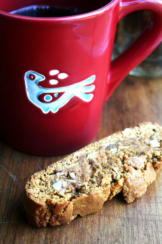 gingerbread biscotti with coffee