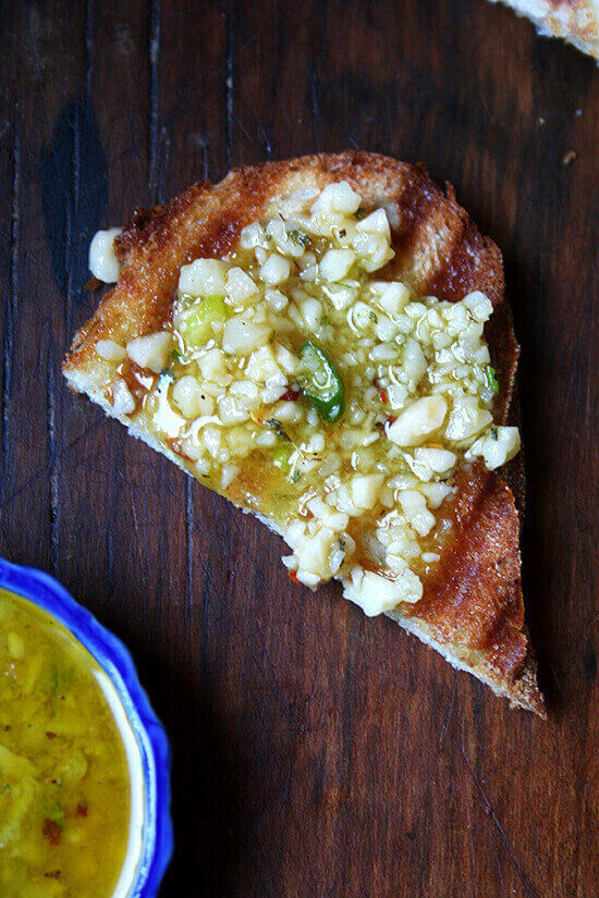 salsa di Parmigiano on grilled bread