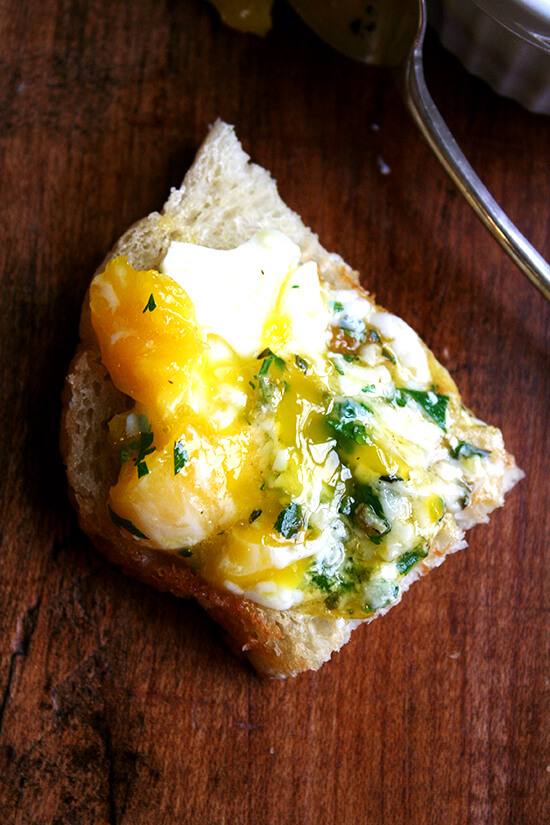 baked eggs on toast