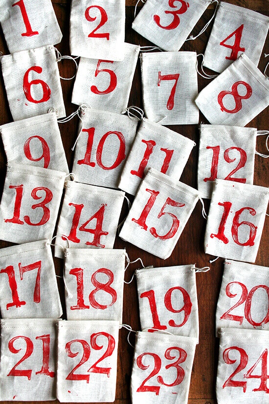stamped bags for advent calendar