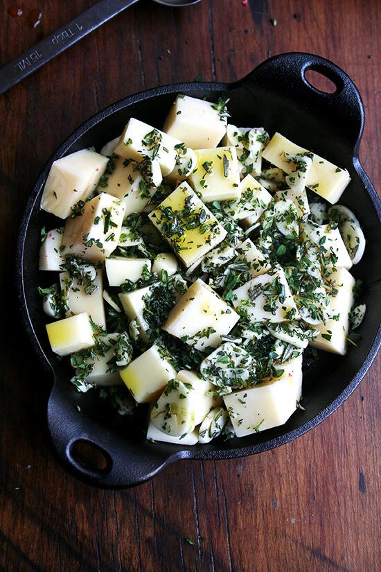 cubed fontina, herbs, olive oil, garlic & salt