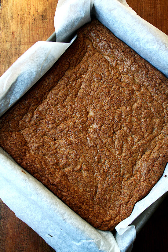 brown butter and sea salt blondies, just baked