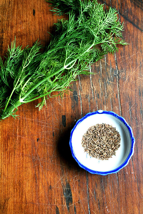 dill and caraway seeds