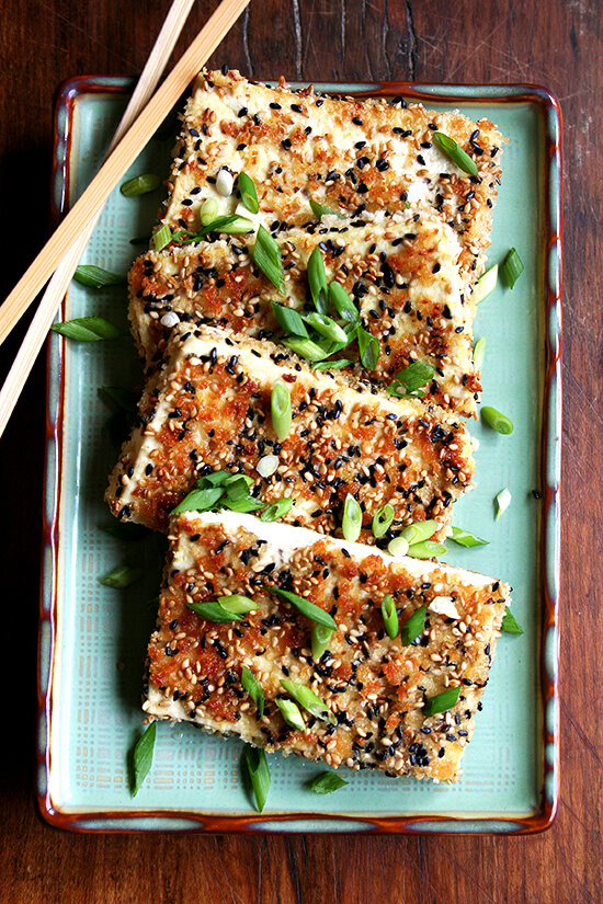 This tofu with nuoc cham is all about the sauce: the spicy, sweet, sour condiment ubiquitous at nearly every Vietnamese meal. While the crispy sesame-and-panko coated cubes of tofu are quite good on their own, if you like nuoc cham, you'll like this dish. Be warned: one bite of it might make you call up your local Vietnamese restaurant and order a few fresh spring rolls, some grilled grape leaves and a plate or two of bahn xeo, just, you know, to enjoy alongside your tofu. // alexandracooks.com