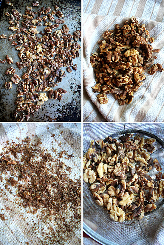 toasting walnuts & removing their skin