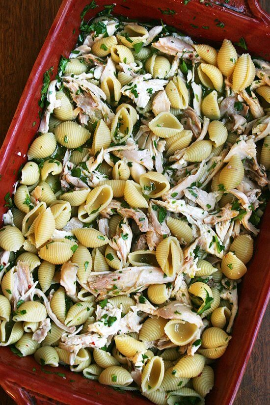 This baked pasta with chicken has become a favorite in my house and not just for passing along to friends in need. Unlike so many baked-pasta recipes, this one contains neither cheese nor bechamel. The sauce, made with white wine, olive oil, lemon, herbs and garlic, tastes, without the fishiness, like the broth that bathes linguine and clams in giant porcelain bowls in classic Italian restaurants. It's both light and comforting, and it demands lots of warm crusty bread. // alexandracooks.com