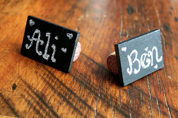 chalkboard-cork table place cards
