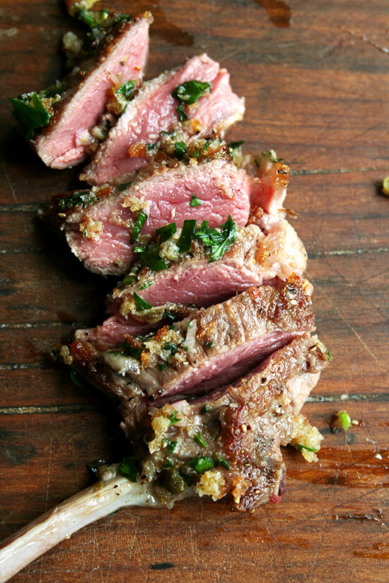 lamb chop with bread salsa