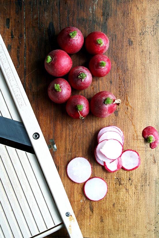 sliced radish tops