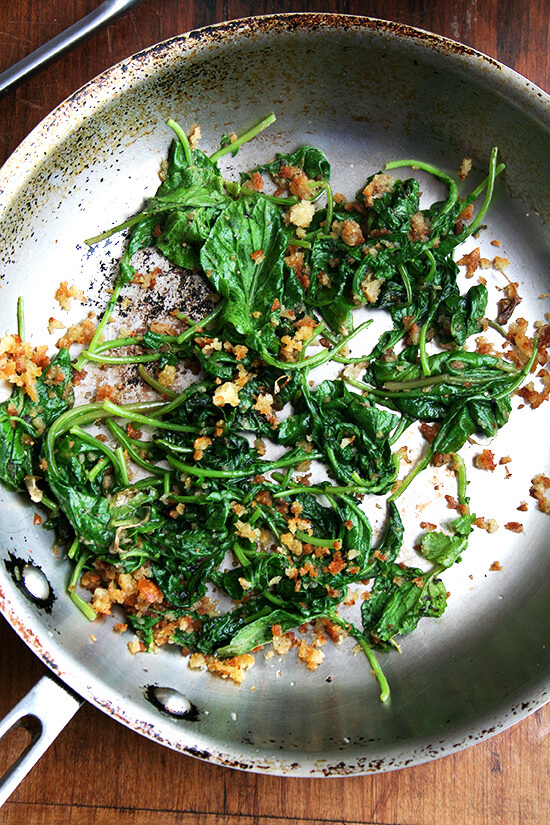 sautéed radish greens and breadcrumbs