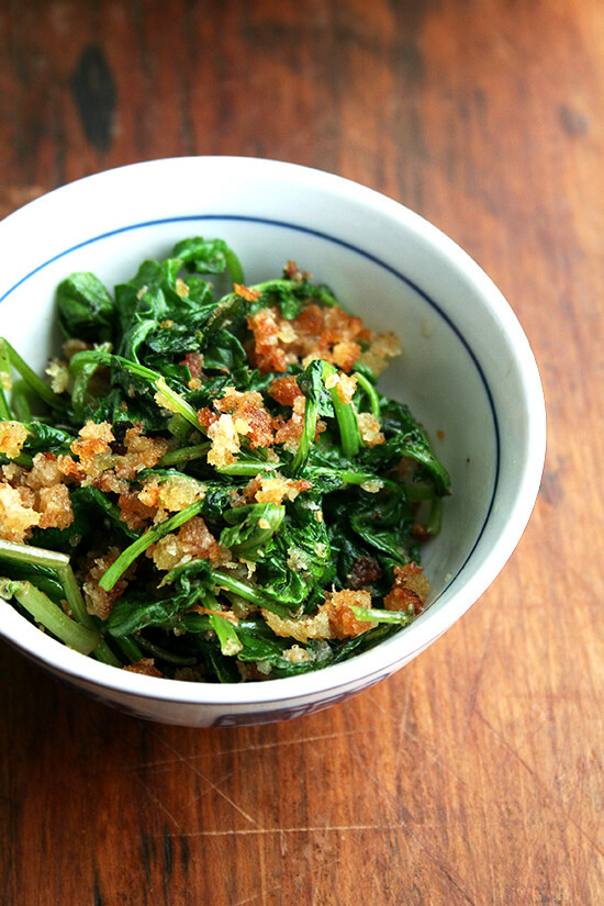 radish greens and toasted bread crumbs