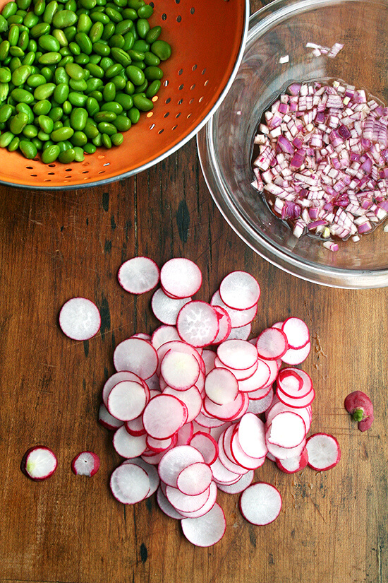 sliced radishes, blanched edamame, macerated onions