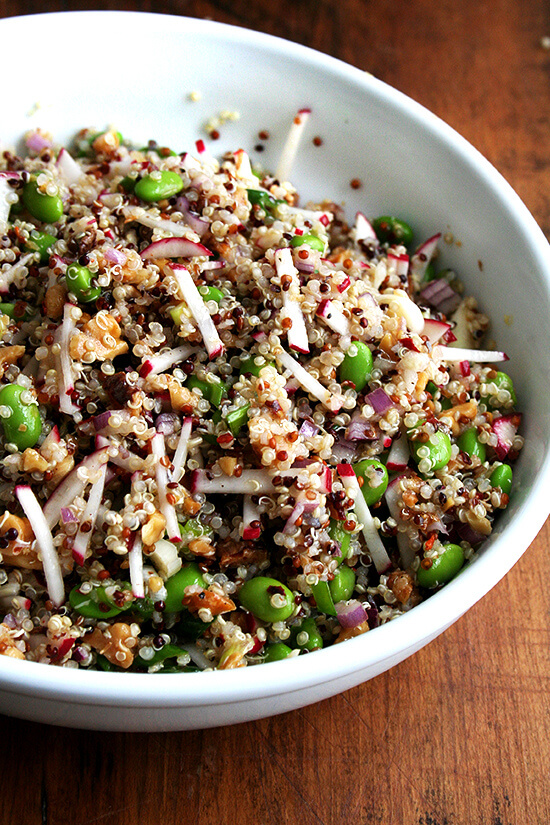 Quinoa with Walnuts, Radishes and Edamame