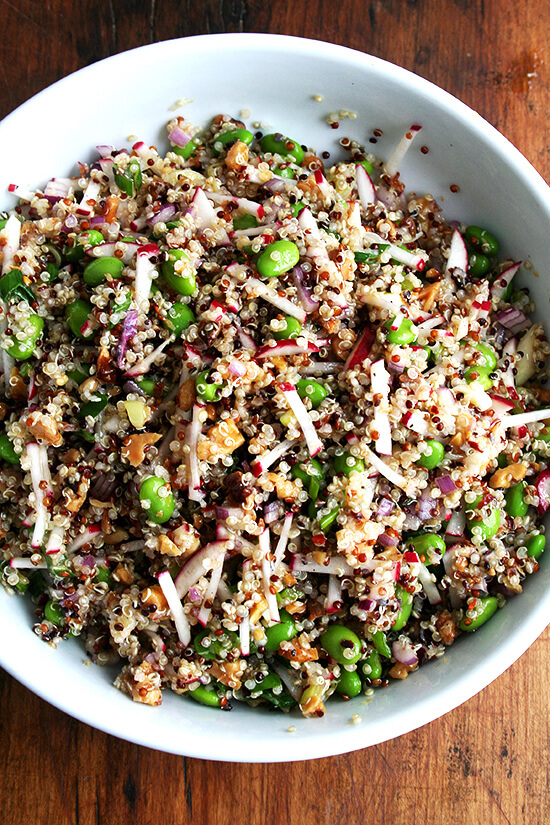 A simple dressing of olive oil and freshly squeezed lemon juice with just a pinch of crushed red pepper flakes works best in this quinoa salad, both complementing quinoa's flavors while not oversaturating its delicate texture. // alexandracooks.com