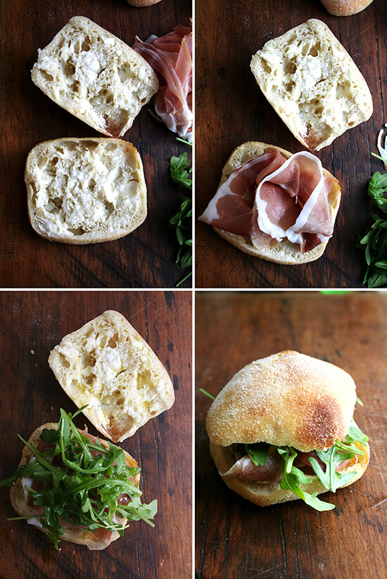 """For Gabrielle Hamilton, the success of this prosciutto and arugula sandwich relies on a delicate balance, """"the perfection of three fats together — butter, olive oil, and the white fat from prosciutto or lardo."""" Served on (faux) ciabatta bread, it's delicious. // alexandracooks.com"""