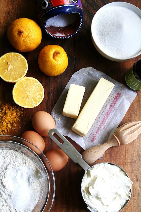 ingredients for lemon-ricotta loaf