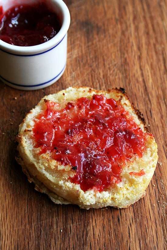 English muffin, toasted with strawberry jam