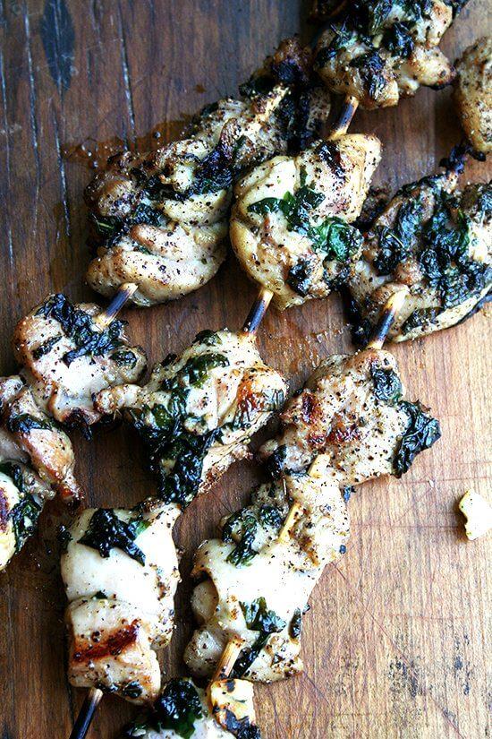 grilled skewered chicken thighs