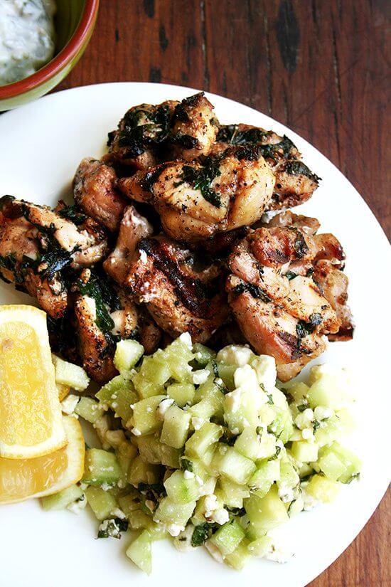 chicken souvlaki & cucumber salad