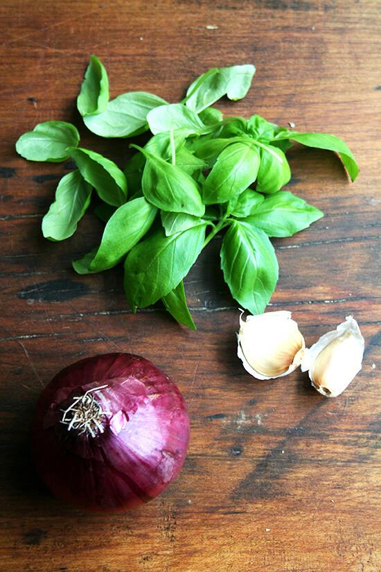 basil, onion, garlic