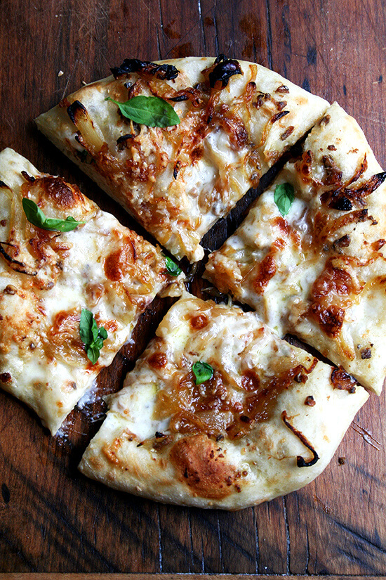 caramelized onion & burrata pizza