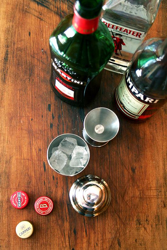 gin, sweet vermouth, Campari