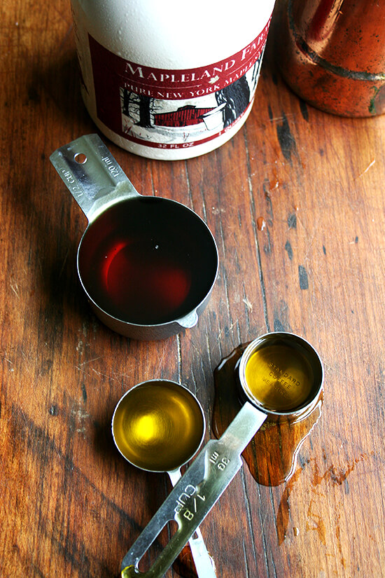 maple syrup and olive oil