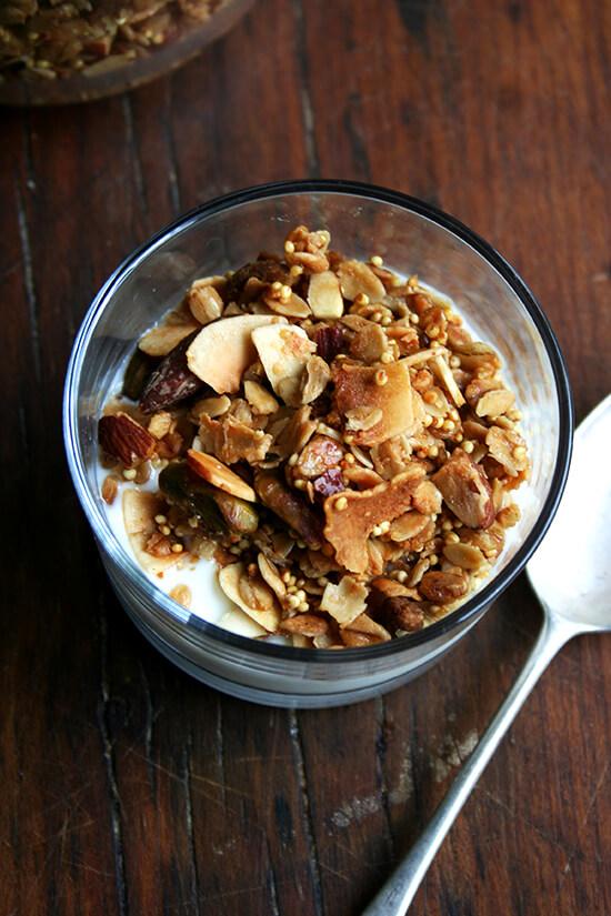 bowl of muesli & Argyle Cheese Farmer Maple yogurt (amazing!)