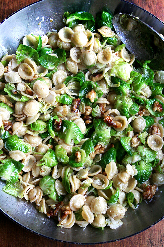 Orecchiette with Brussels sprouts walnuts & brown butter
