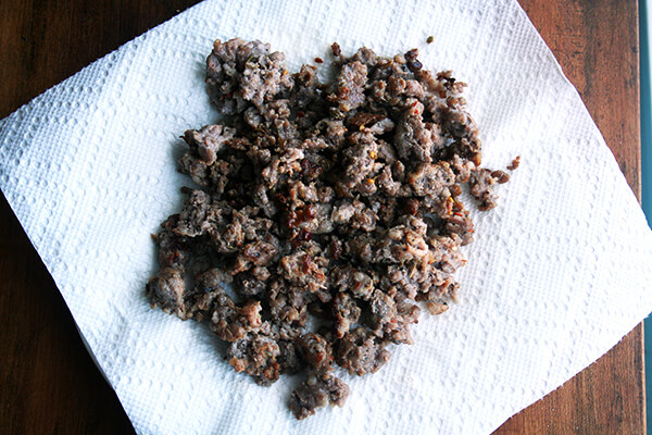 browned sausage
