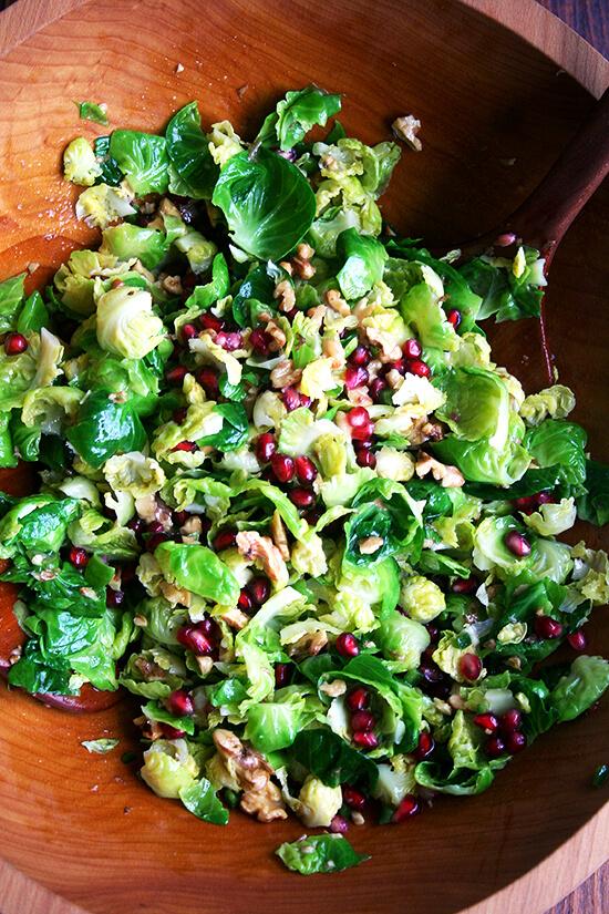 Brussels sprouts, walnut & pomegranate salad