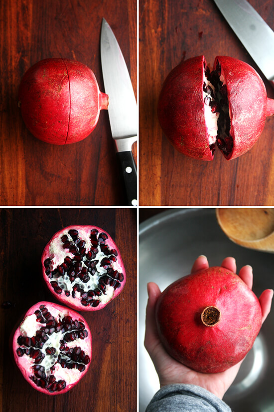 preparing the pomegranate for seeding