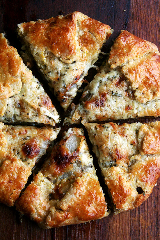 pear, fontina & caramelized onion galette