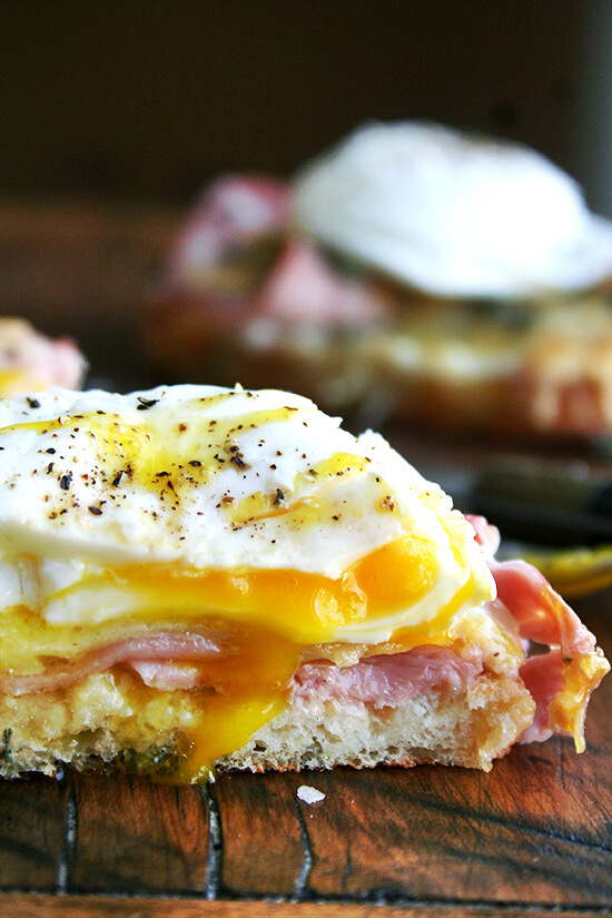 Croque-monsieur with poached eggs