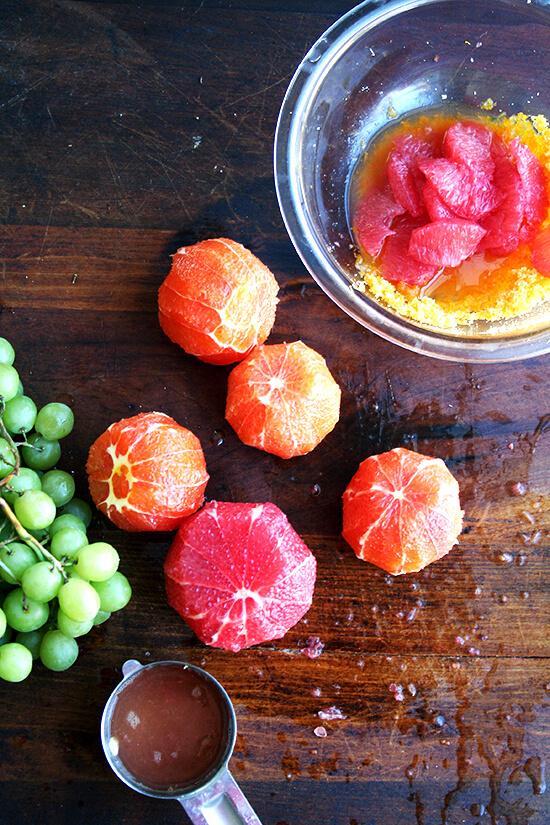 peeled oranges and grapefruits