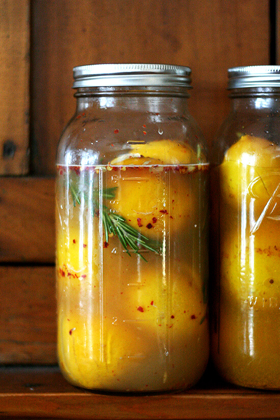 preserved lemons with rosemary and chilies