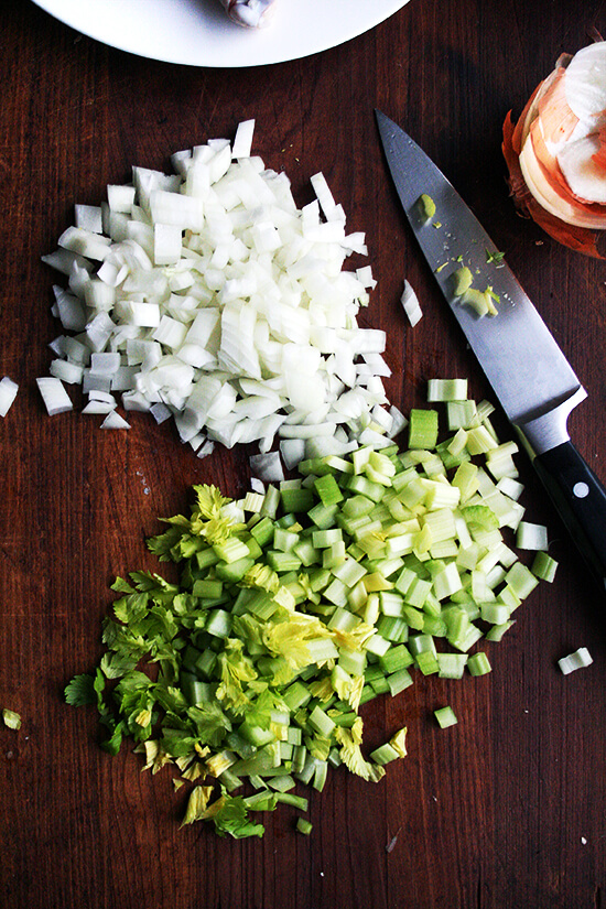 diced onions and celery