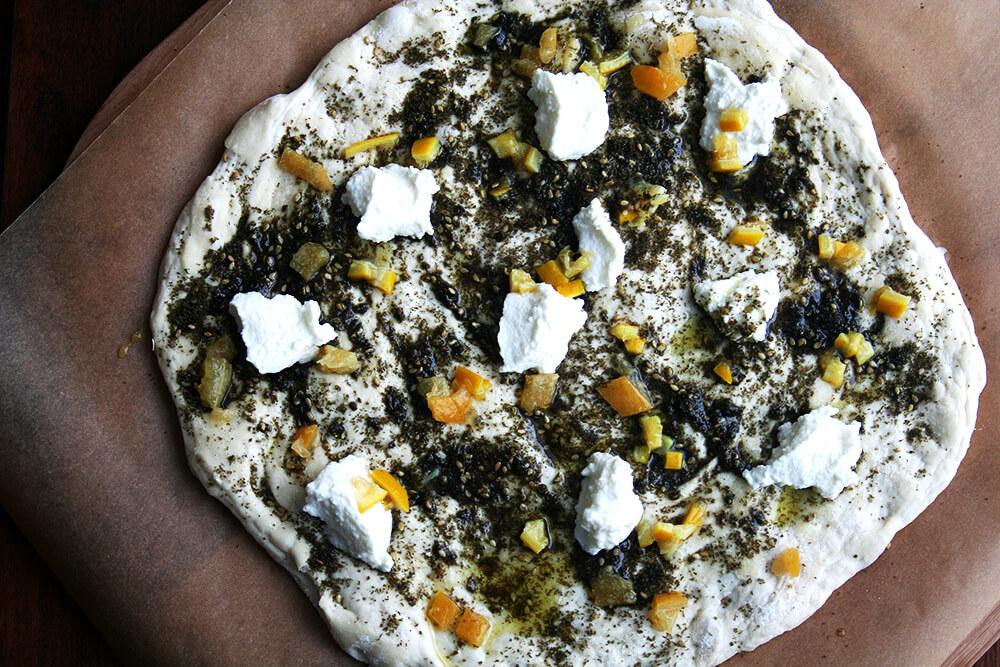 preserved lemon, za'atar & ricotta pizza