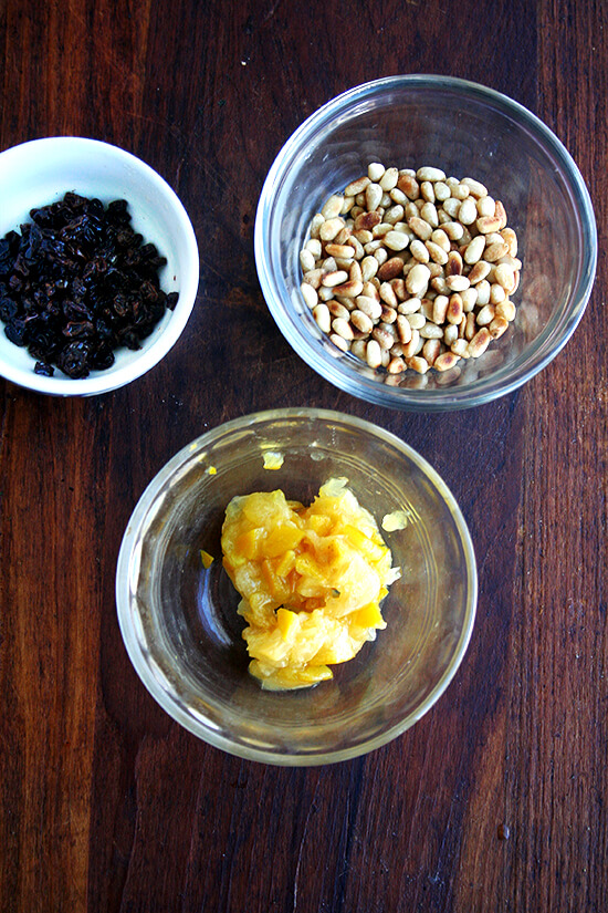 currants, preserved lemons and toasted pine nuts