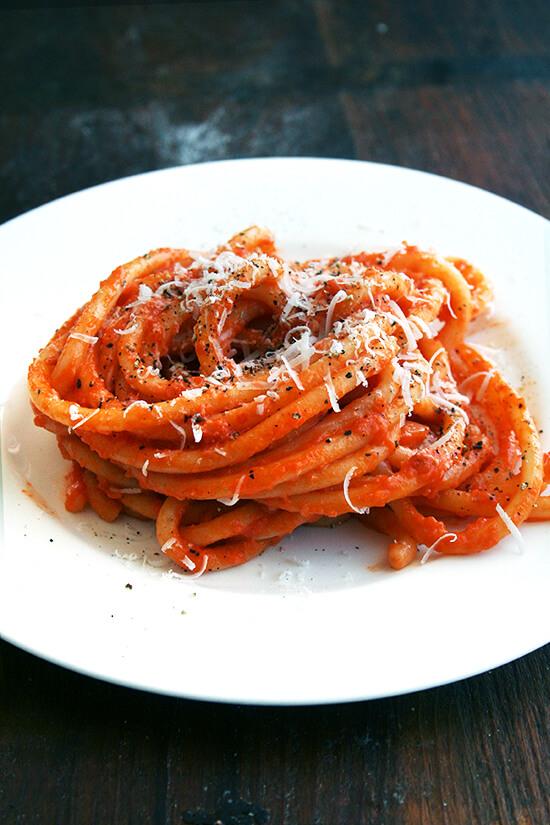 plate of bucatini
